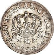 8 Skilling Dansk - Frederik IV (Type I) -  revers