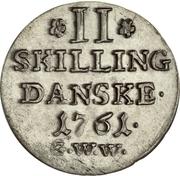 2 Skilling - Frederik V – revers