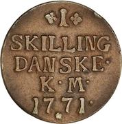 1 skilling - Christian VII -  revers
