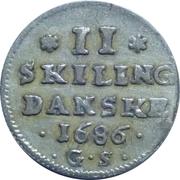 2 Skilling Dansk - Christian V – revers