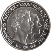 200 kroner - Margrethe II (4eme effigie;mariage du prince) – revers