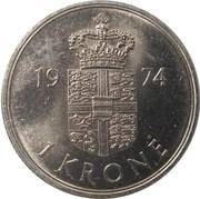 1 krone - Margrethe II (type sans trou) -  revers