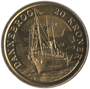 20 kroner - Série Navires - Dannebrog -  revers