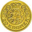 20 kroner - Margrethe II (3eme effigie - 1e armoirie) -  revers