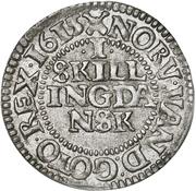1 Skilling Dansk - Christian IV (Oval shield; date in legend) – revers