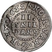2 Skilling Dansk - Frederick  3 – revers
