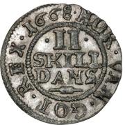 2 Skilling Dansk - Frederick III – revers