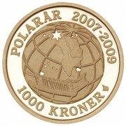 1000 Kroner - Margrethe II (4th Portrait- Sirius - Gold issue) – revers