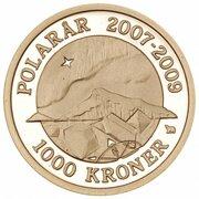 1000 Kroner - Margrethe II (4th Portrait- Northern Light - Gold issue) – revers