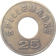 Jeton 25 Spillemærke (Dansk Automat Branche Forening) – revers
