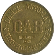 Vending Machine Token - DAB (Dansk Automat Brancheforening; Brass) – avers