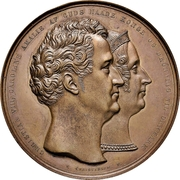 Medal - Christian VIII (Royal couple anointing; large version; bronze issue) – avers