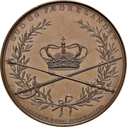 Medal - Christian VIII (Royal couple anointing; large version; bronze issue) – revers