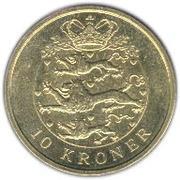 10 kroner - Margrethe II (4e effigie, 2eme armoiries) -  revers