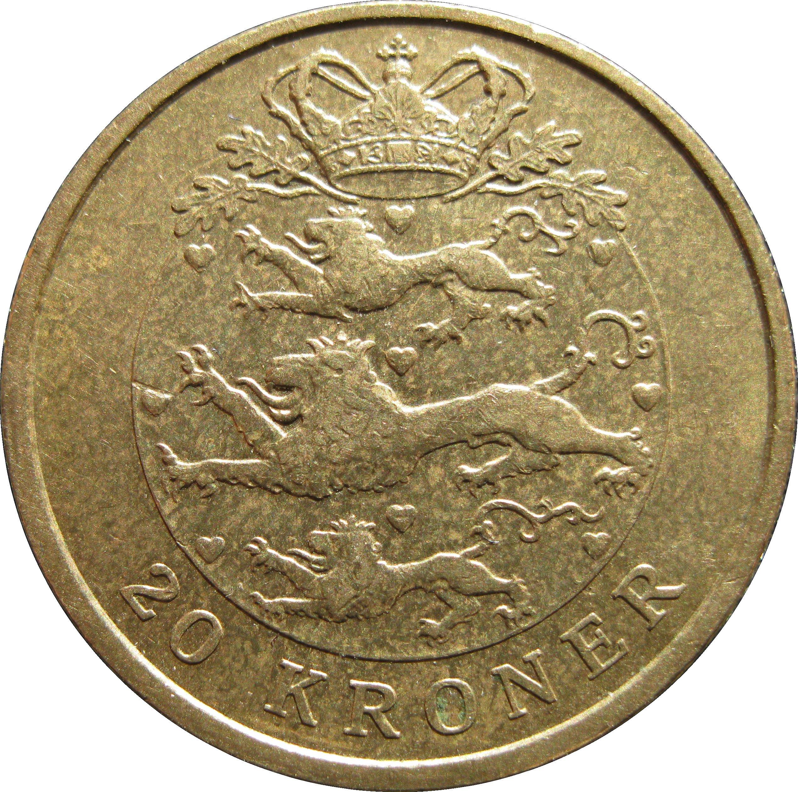 20 kroner - margrethe ii  4e effigie  2e armoiries