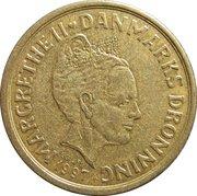 10 kroner - Margrethe II (3e effigie, 1ère armoiries) -  avers