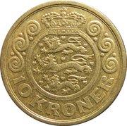 10 kroner - Margrethe II (3e effigie, 1ère armoiries) -  revers