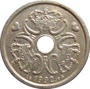 1 krone - Margrethe II (type avec trou) -  avers