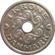 1 krone - Margrethe II (type avec trou) -  revers
