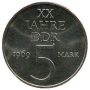 5 Mark (20 ans de la RDA, cupronickel) – revers