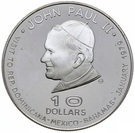 10 dollars - Elizabeth II (visite du Pape) – revers