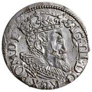 3 grossus Sigismund III Vasa (Riga; barbe longue et arrondie) – avers