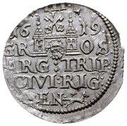 3 grossus Sigismund III Vasa (Riga; barbe longue et arrondie) – revers