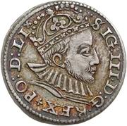 3 grossus Sigismund III Vasa (Riga; barbe courte) – avers