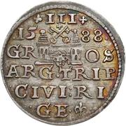 3 grossus Sigismund III Vasa (Riga; barbe courte) – revers