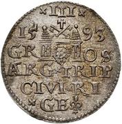 3 grossus Sigismund III Vasa (Riga; barbe longue et pointue) – revers