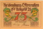75 Pfennig (Neidenburg - Ostpreussen) – avers