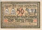 50 Pfennig (Stadt Emmerich) – avers