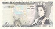 5 Pounds - Queen Elizabeth (Duke of Wellington) – avers