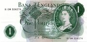 One Pound - H.M The Queen Portrait Type Series C - Green – avers