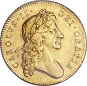 5 livres Charles II (guinée, 2e effigie) -  avers
