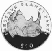 10 dollars (Black rhinoceros) – revers