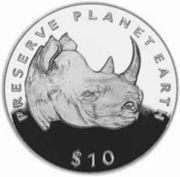 10 dollars (Rhinocéros noir) – revers