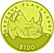 100 Dollars (Rhinocéros) – revers