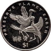 1 dollar (Grues caronculées) – revers