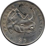 1 dollar (Rhinocéros noir) – revers