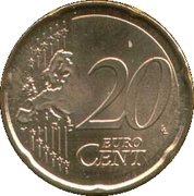 20 cents d'euro (2e carte, 1er type) -  revers