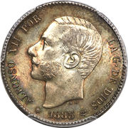 1 peseta Alphonse XII rouflaquettes -  avers
