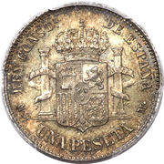 1 peseta Alphonse XII rouflaquettes -  revers