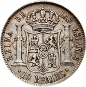 10 reales Isabelle II -  avers