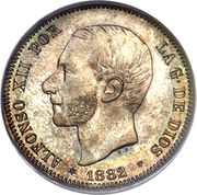 2 pesetas Alphonse XII rouflaquettes -  avers