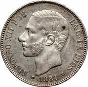 5 pesetas Alphonse XII rouflaquettes -  avers