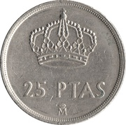 25 pesetas Juan Carlos I (M couronné) -  revers