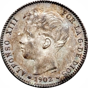 1 peseta Alphonse XIII toupet -  avers