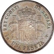1 peseta Alphonse XIII toupet -  revers