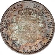 50 centimos Alphonse XIII toupet -  revers